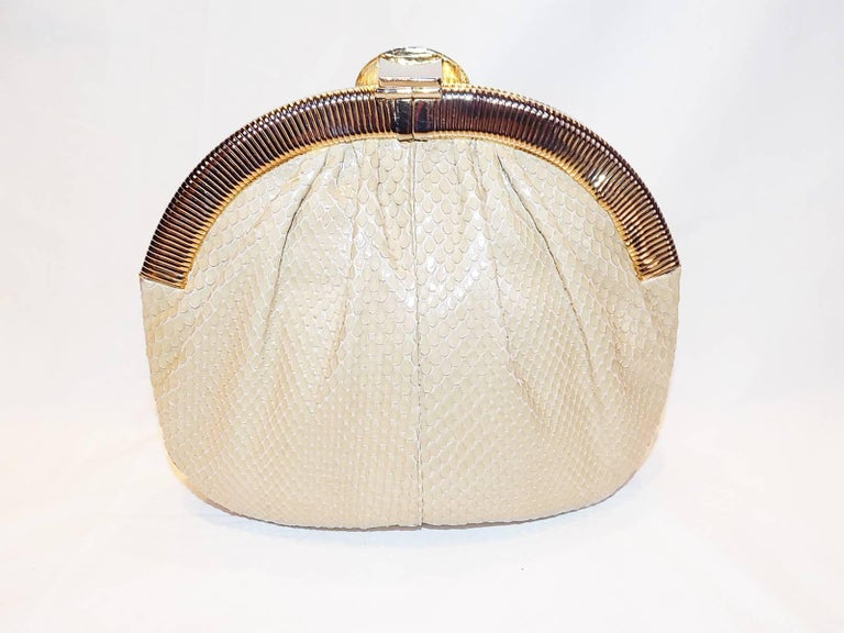 Judith Leiber Beige Snake Skin Frame Handbag Clutch with large oval  Stone Clasp 4