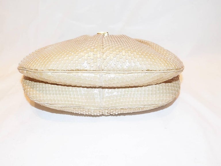 Judith Leiber Beige Snake Skin Frame Handbag Clutch with large oval  Stone Clasp 5