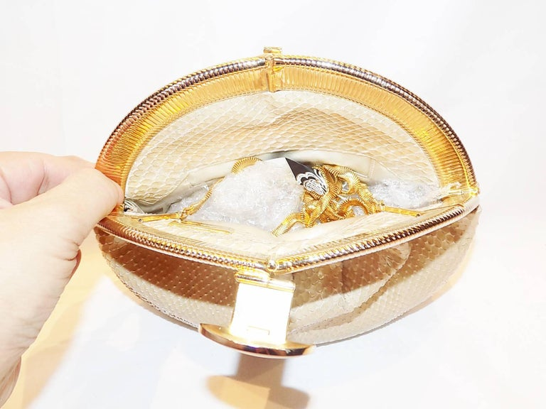 Judith Leiber Beige Snake Skin Frame Handbag Clutch with large oval  Stone Clasp 6