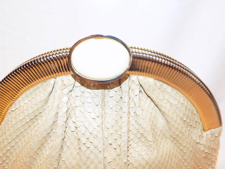 Judith Leiber Beige Snake Skin Frame Handbag Clutch with large oval  Stone Clasp 2