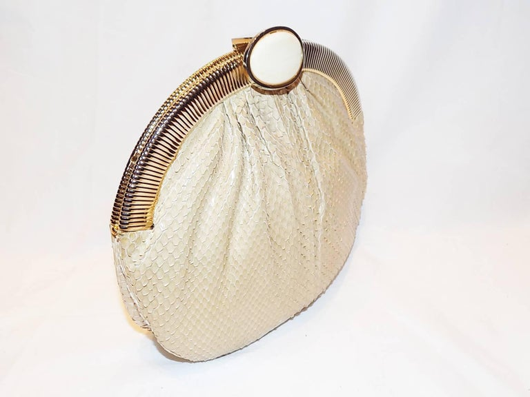 Judith Leiber Beige Snake Skin Frame Handbag Clutch with large oval  Stone Clasp 3