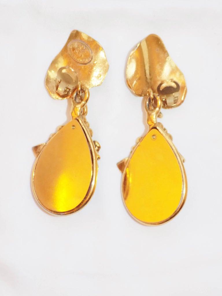 Emanuel Ungaro Vintage Large poored glass drop earrings ...