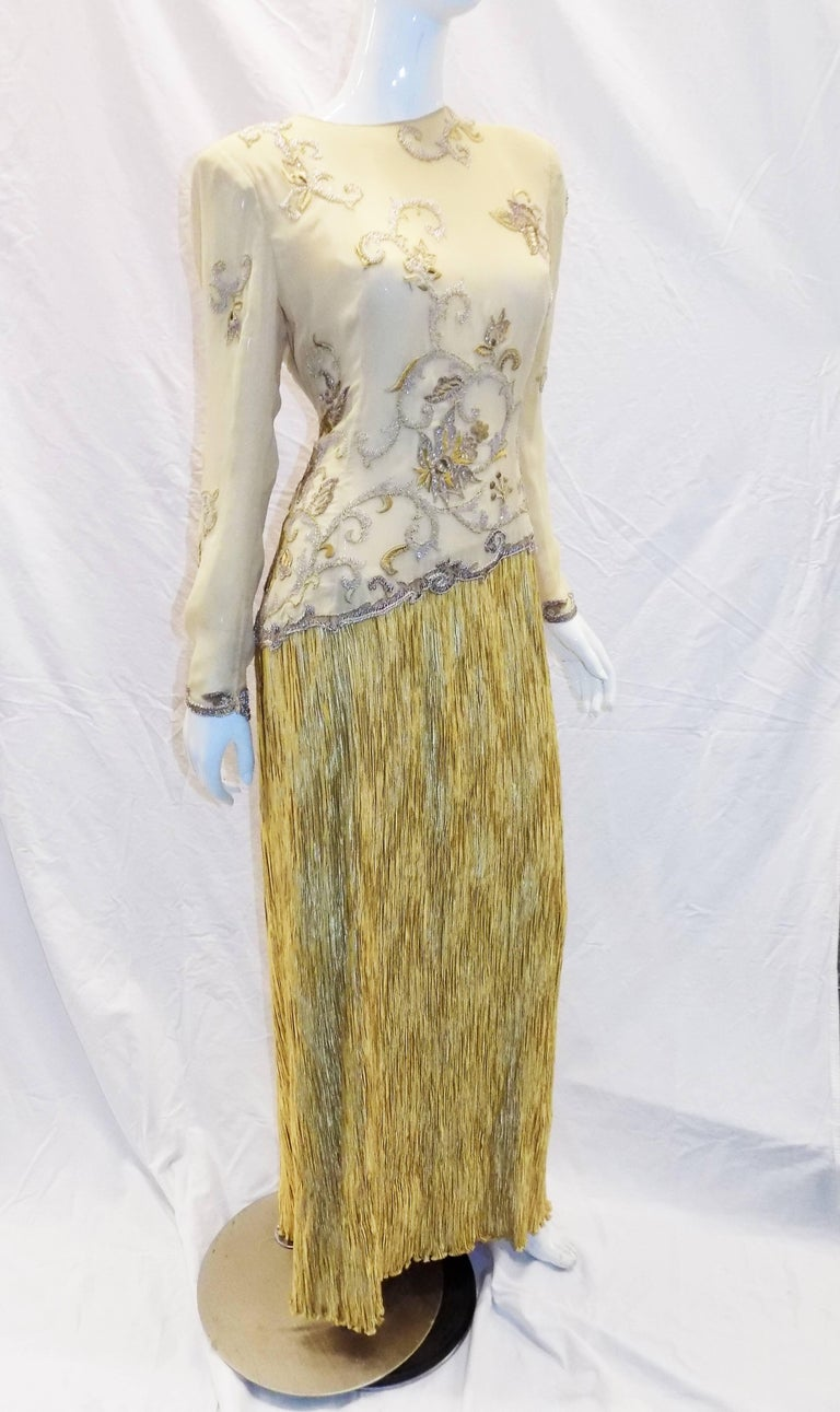 Mary McFadden Couture Gold beaded Bodice with Gold pleated Skirt ...