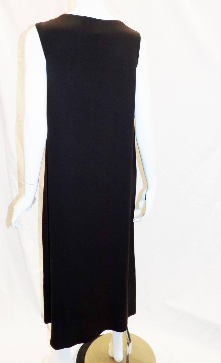 Women's Zoran brown silk sleeveless long  dress   For Sale