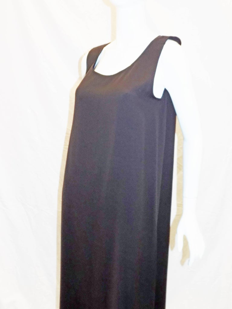 Black Zoran brown silk sleeveless long  dress   For Sale