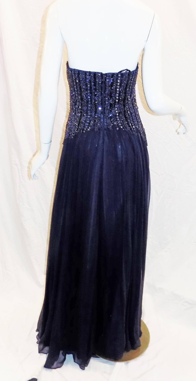 David Meister New w Tags Navy blue beaded chiffon corset evening ...