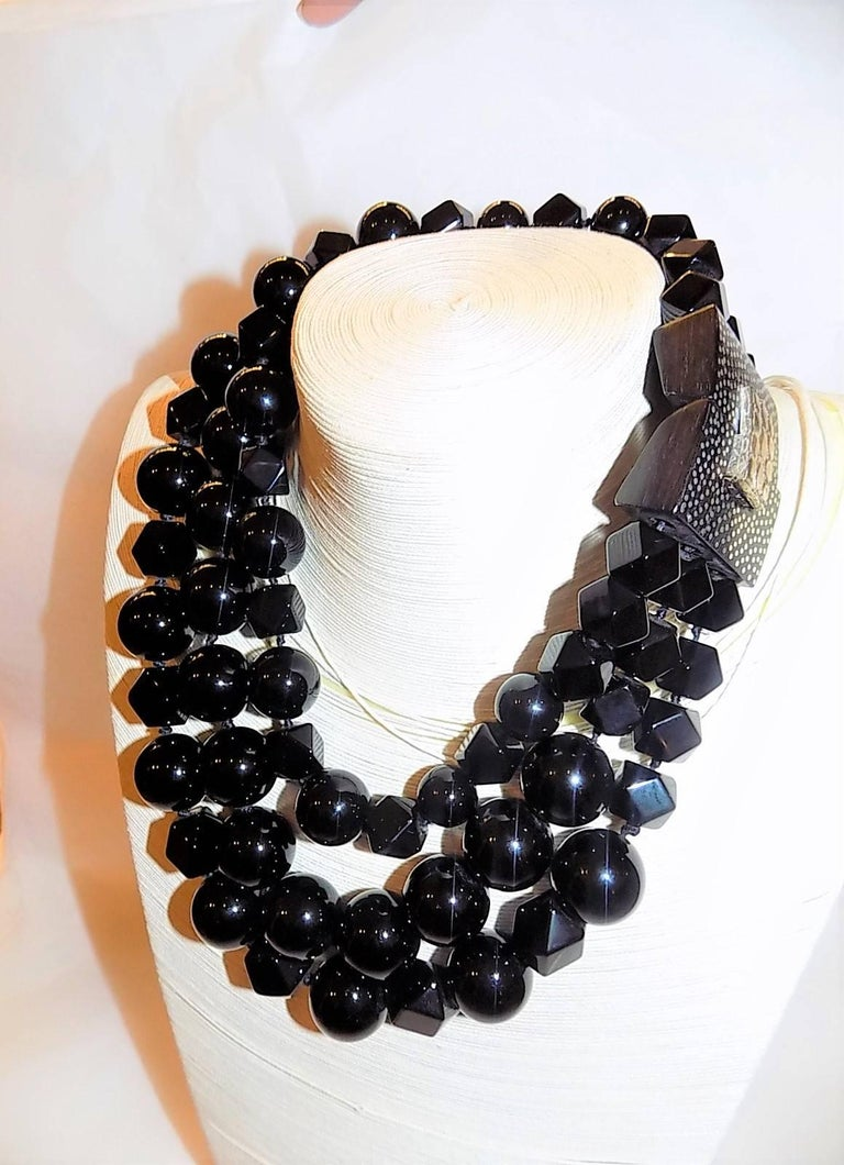 This sensational necklace was designed by New York contemporary designer jeweler, Patricia Von Musulin. Her pieces are known for their sculptural quality and have been featured in the design collections of Bill Blass, Perry Ellis, Oscar de la Renta,