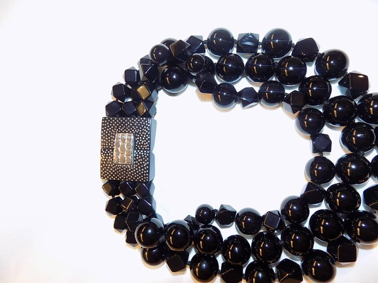 Patricia von Musulin Black onyx necklace  In As new Condition For Sale In New York, NY
