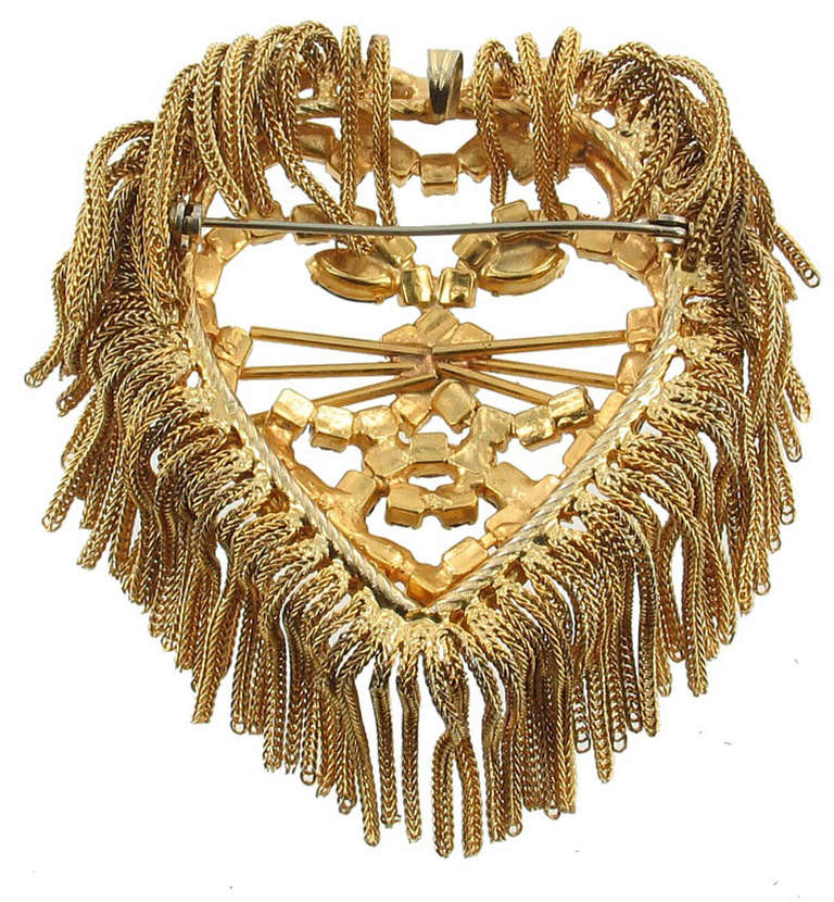 Vintage  1960'S DOMINIQUE LION HEAD Pendant Pin 4