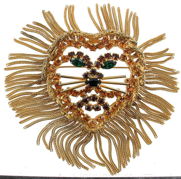 Vintage  1960'S DOMINIQUE LION HEAD Pendant Pin 2