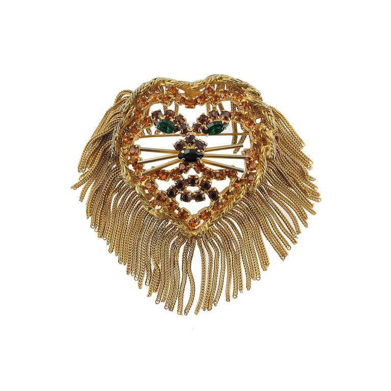 Vintage  1960'S DOMINIQUE LION HEAD Pendant Pin 1