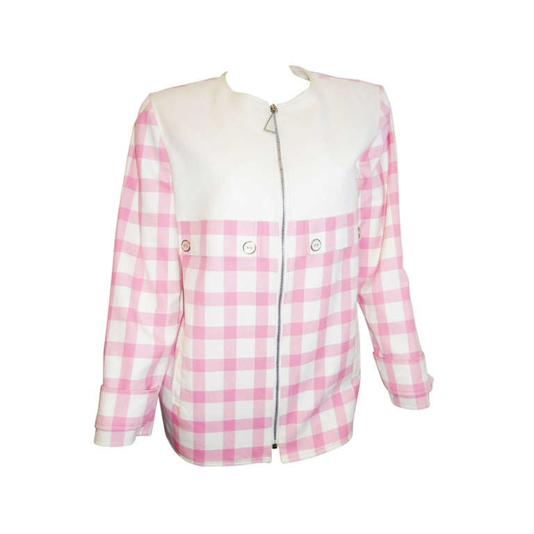 Courreges  pink checkered spring summer zippered jacket