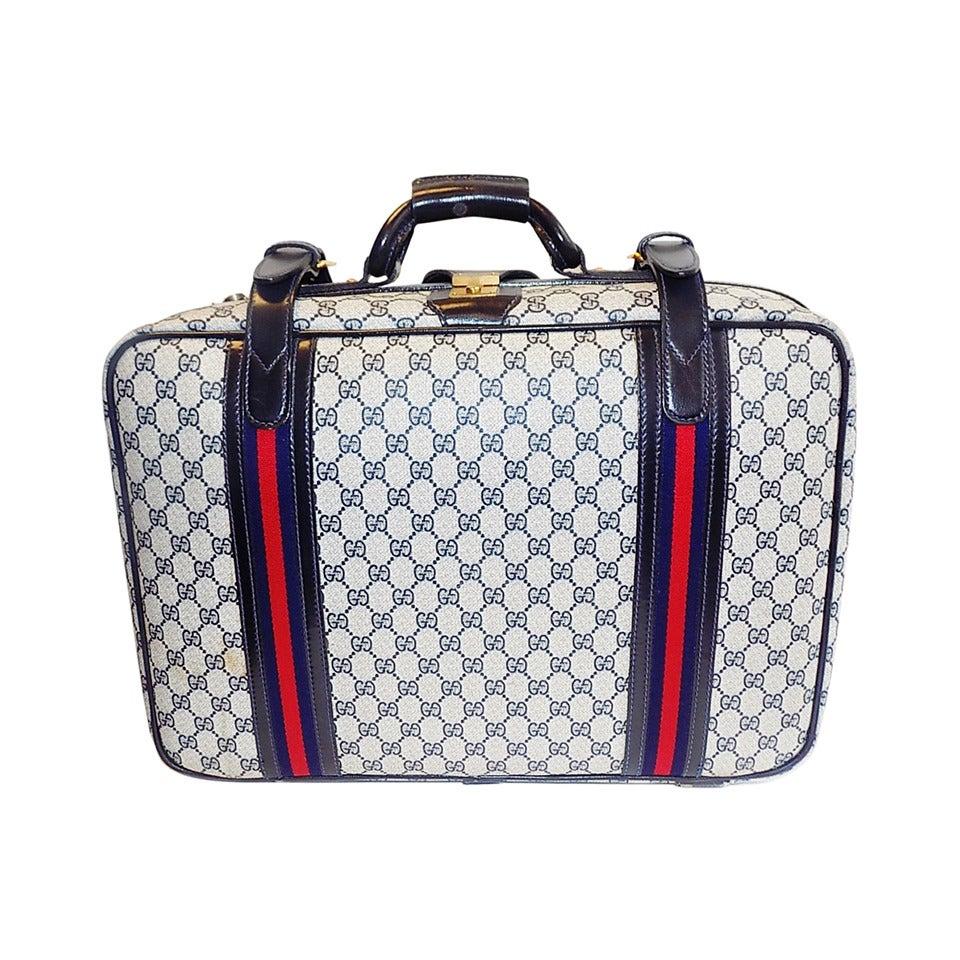 Gucci Vintage Blue Striped Logo Traveling Bag Luggage At