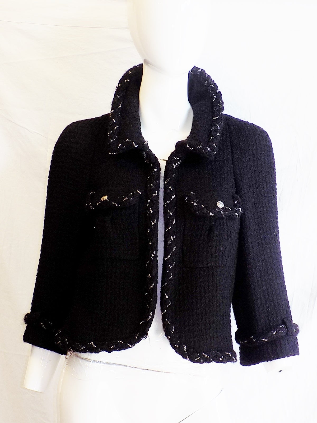 Chanel Most coveted black jacket with metal braids details 3