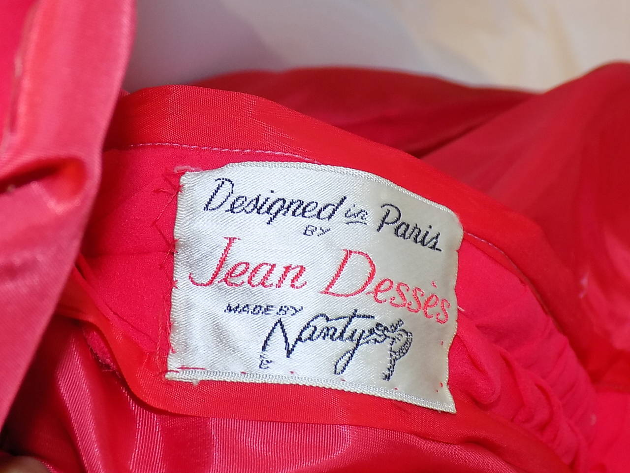 Iconic Jean Dessès Red draped gown with Fox fur stole 1950's 10