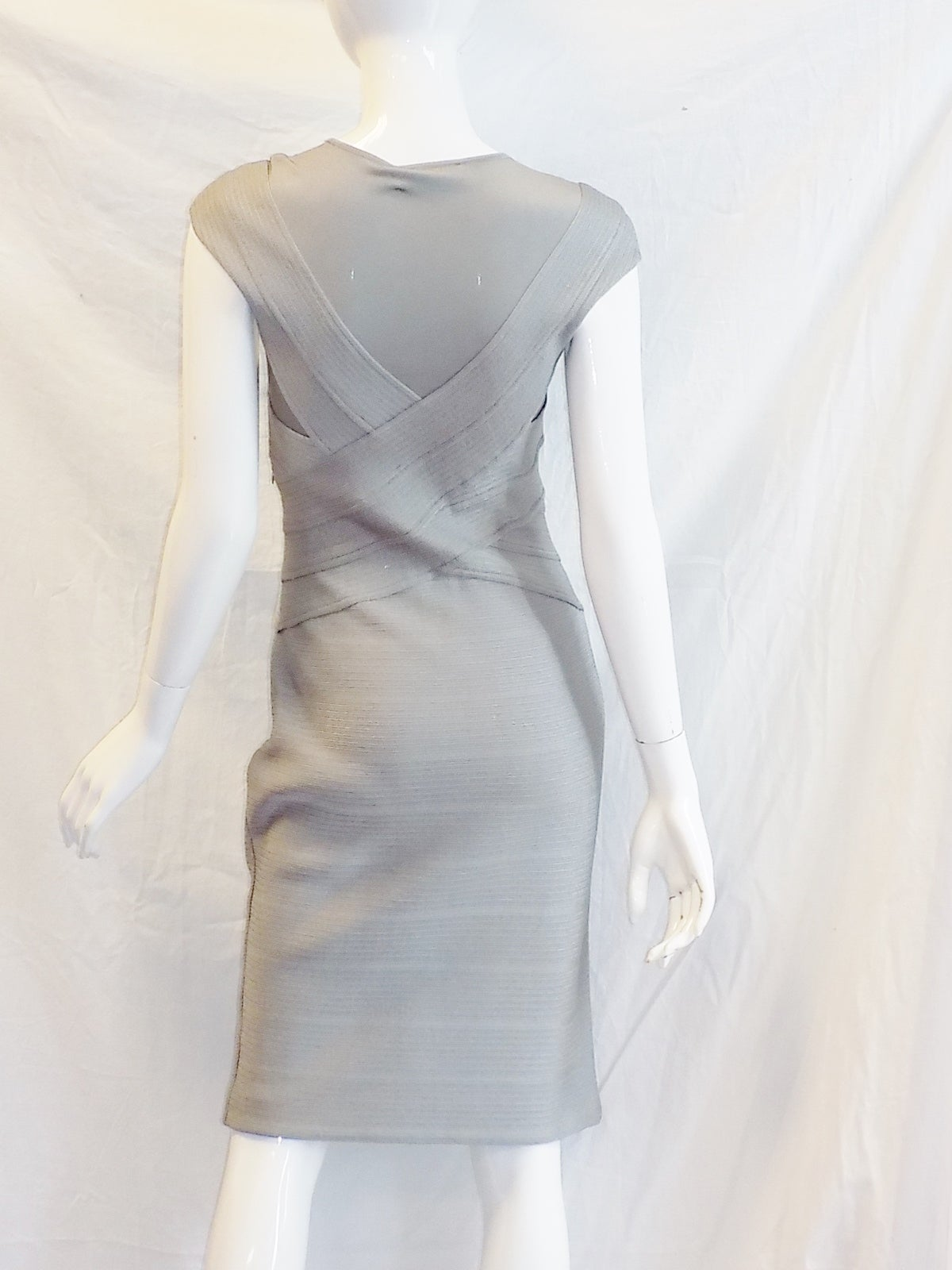 Christian dior silver grey bandage cocktail dress at 1stdibs for Dior couture dress price