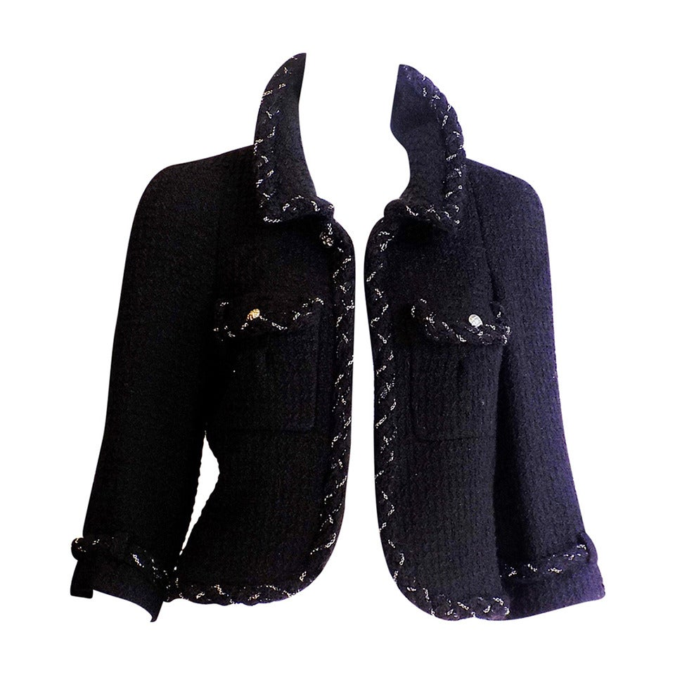 Chanel Most coveted black jacket with metal braids details 1