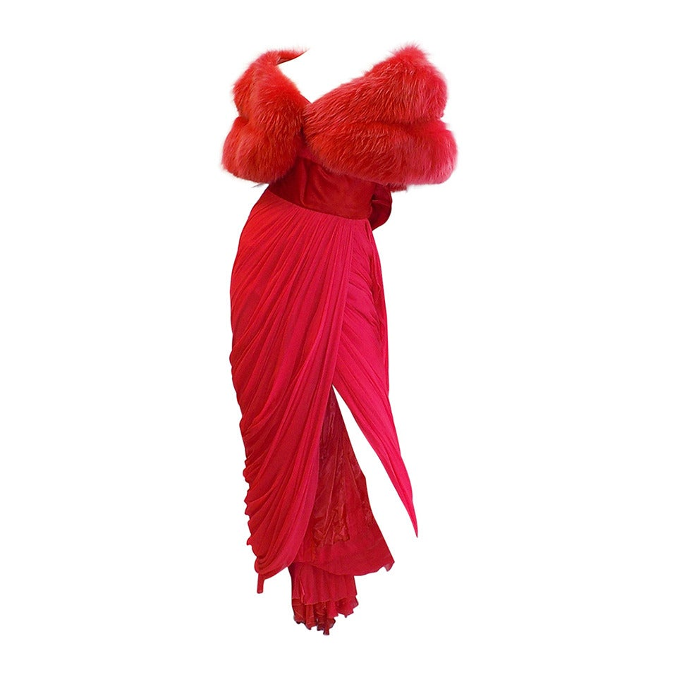 Iconic Jean Dessès Red draped gown with Fox fur stole 1950's For Sale