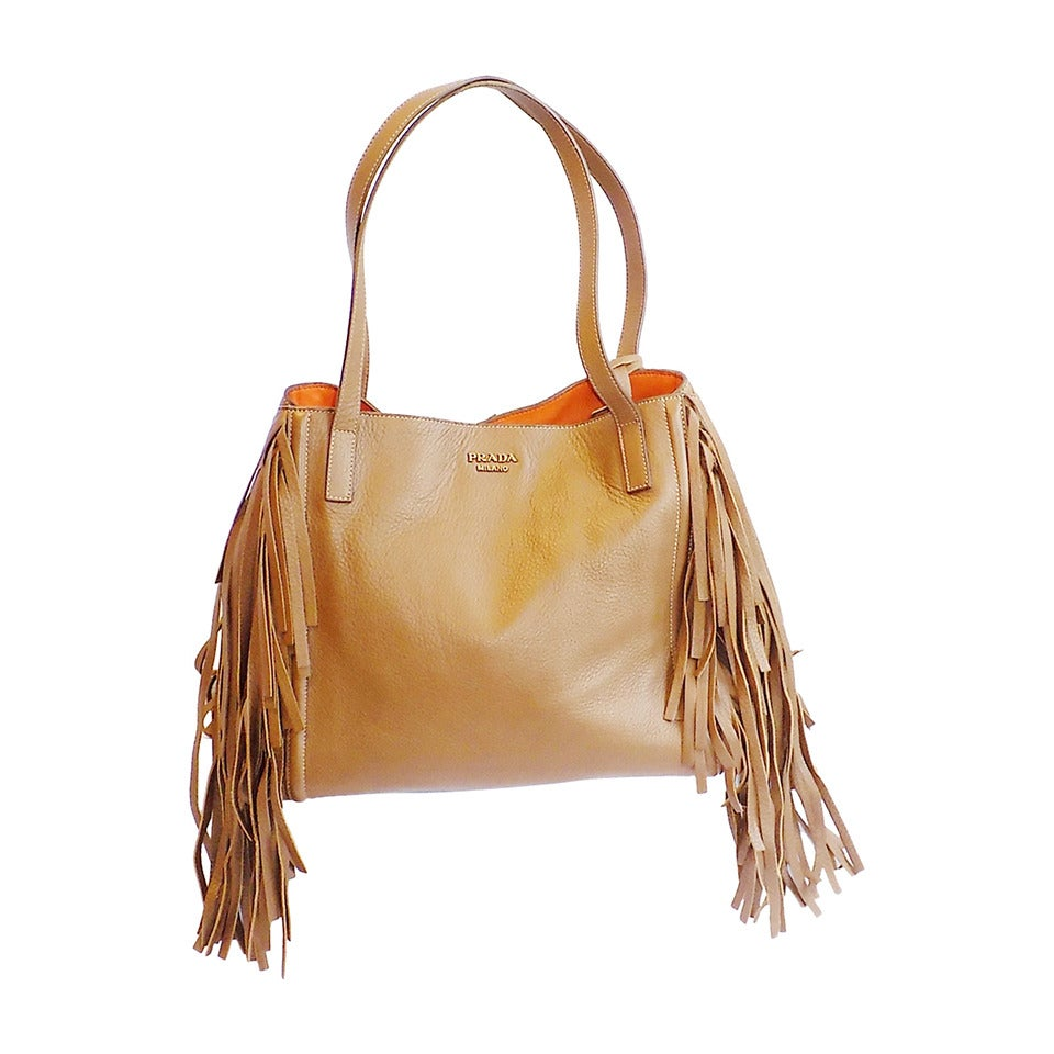 Prada Deer skin Large Camel color Fringed tote bag ...