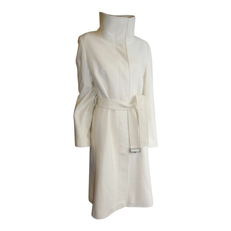 Scandalous Winter white cashmere Burberry belted Coat at 1stdibs