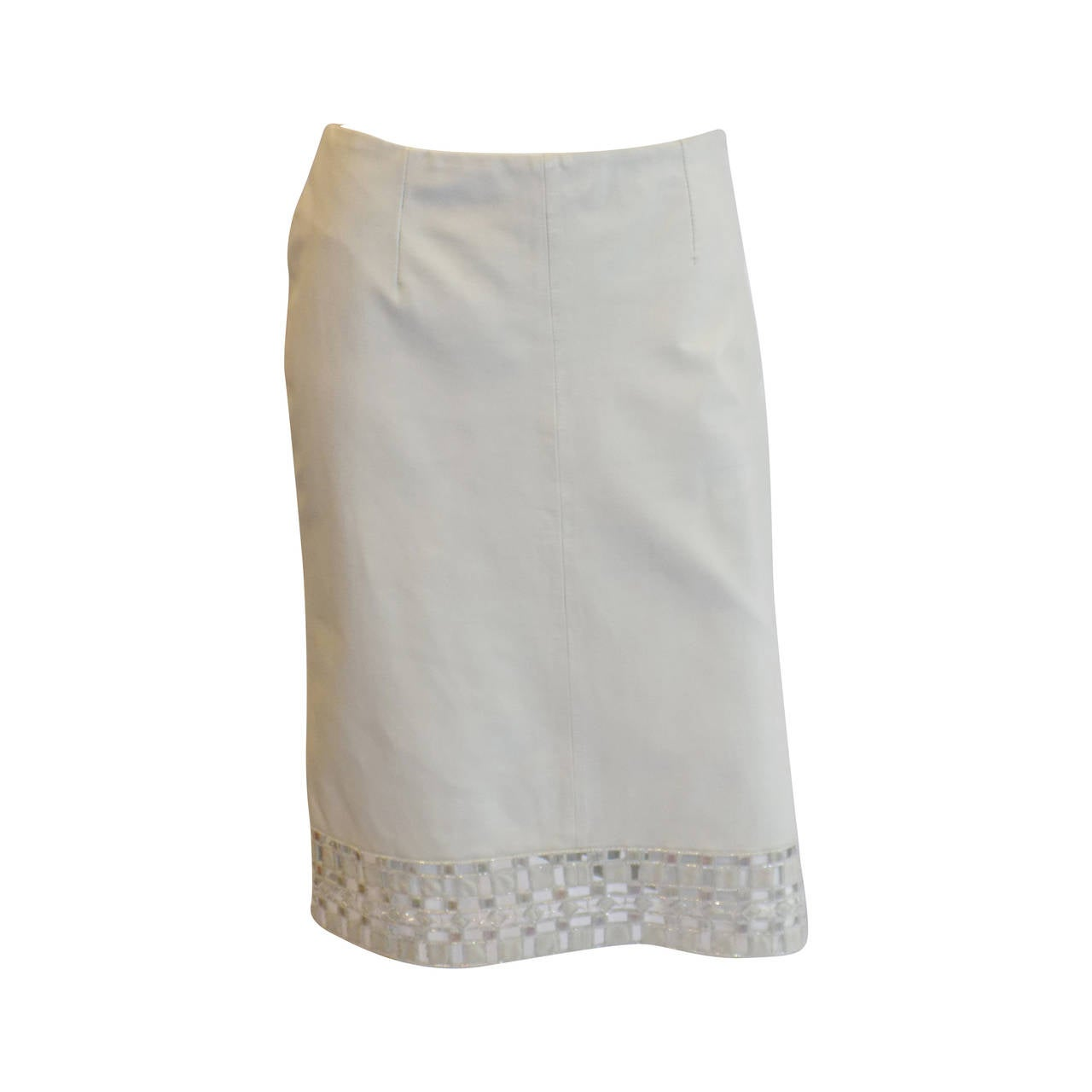 Valentino leather pencil skirt with beaded  lace cutout trim