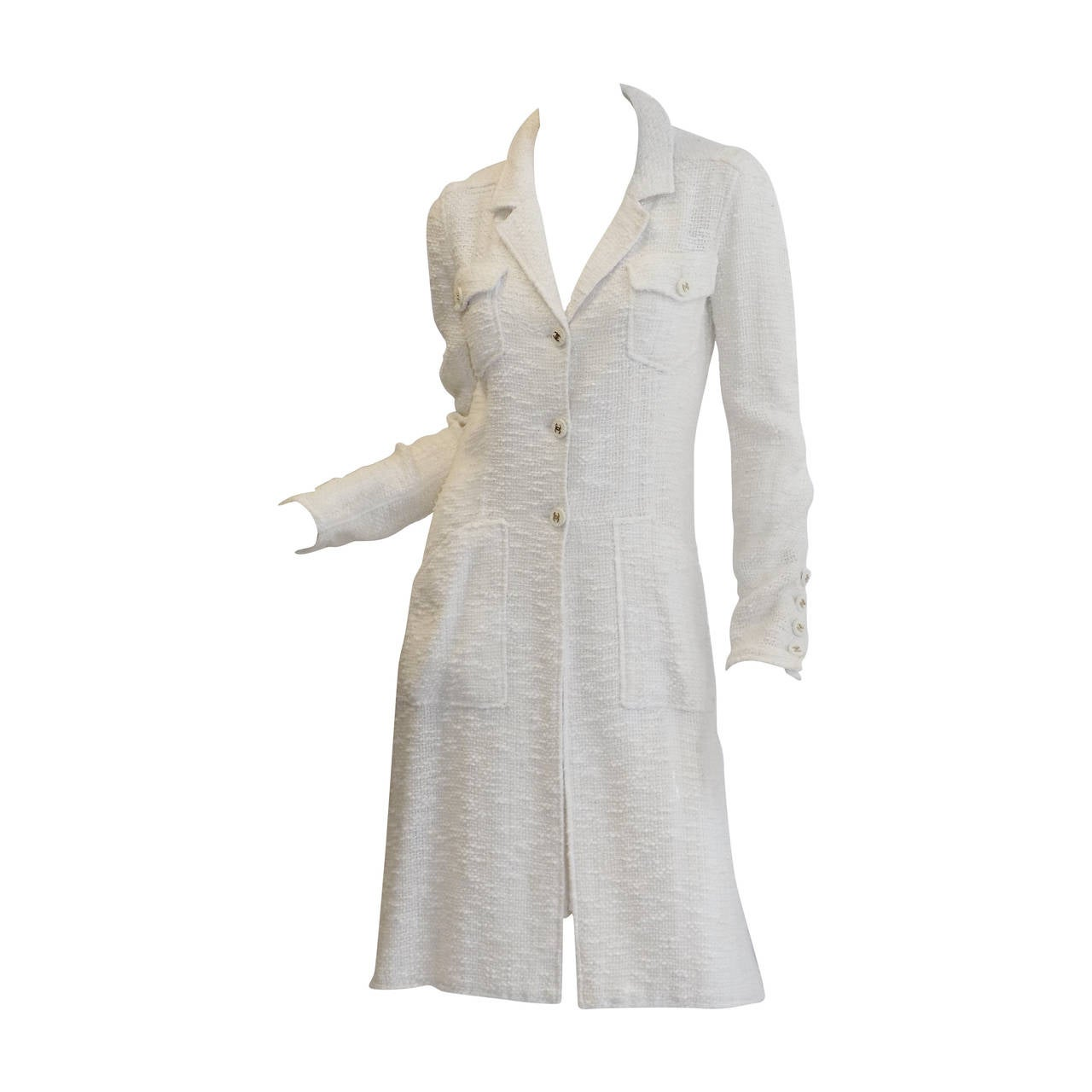 Chanel catwalk vintage winter white  coat dress duster 1