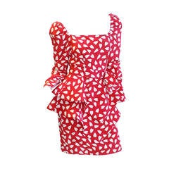 "Say ""I love you"" with  Vintage heart Print Red silk Scaasi adorable  dress"