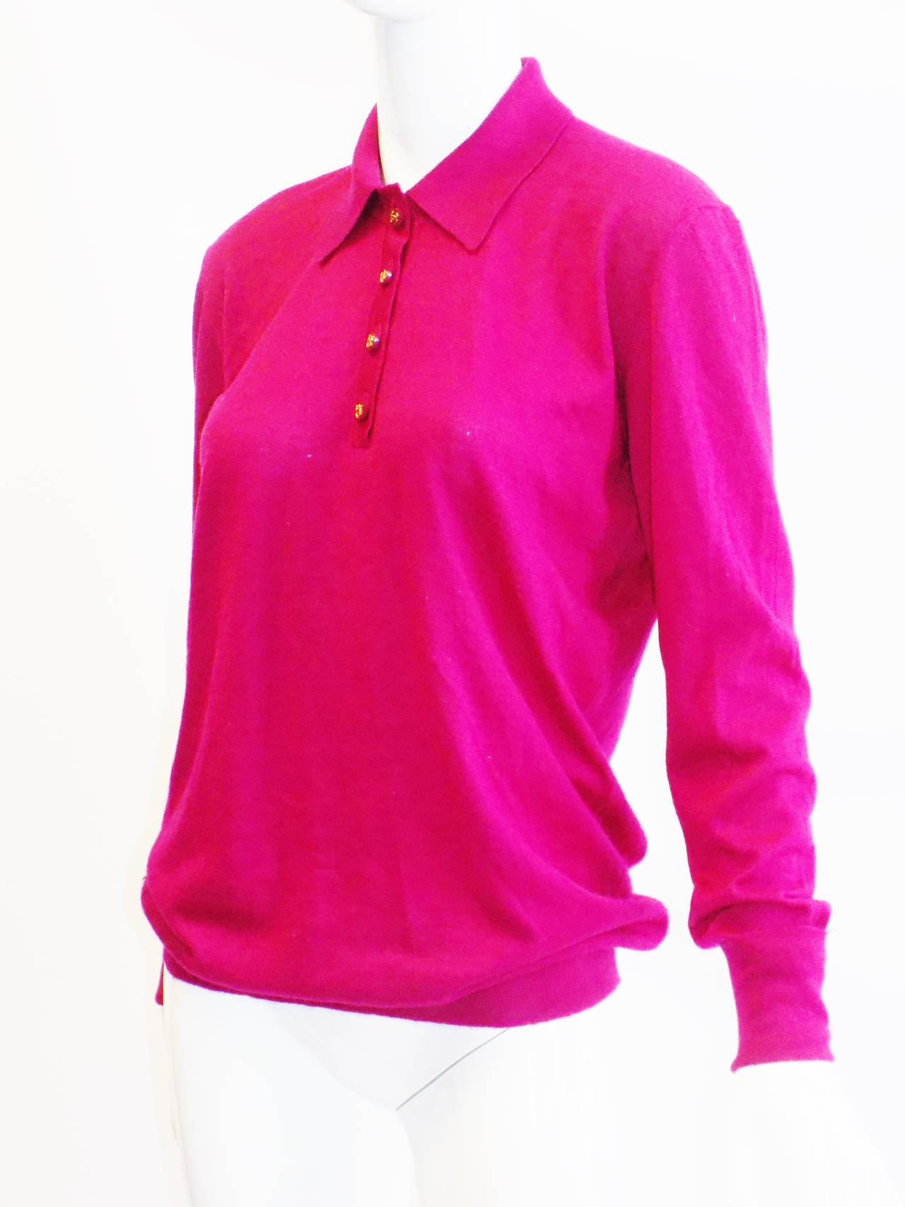 Chanel Vintage  cerise pink  cashmere button front  sweater top 2