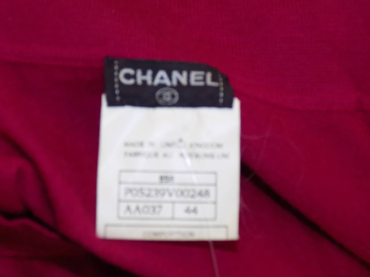 Chanel Vintage  cerise pink  cashmere button front  sweater top 3