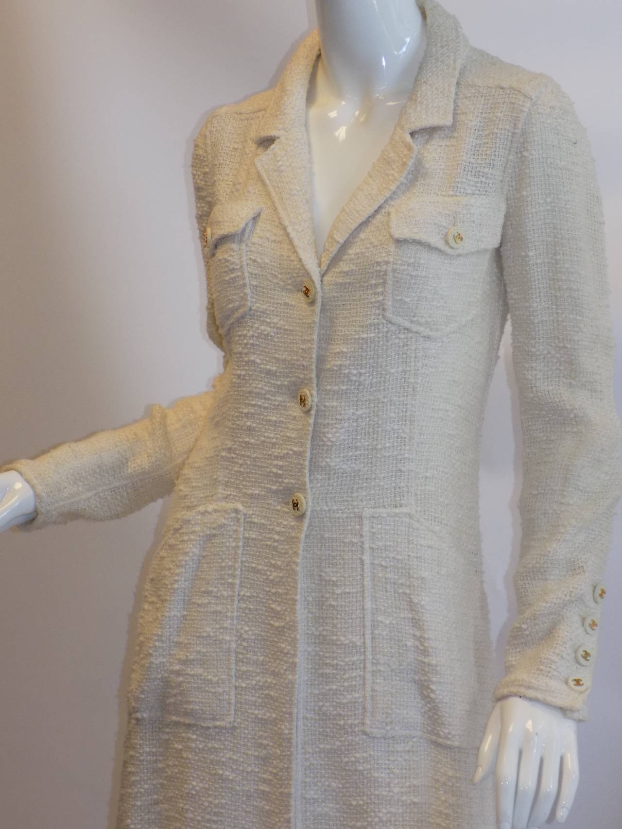 Chanel catwalk vintage winter white  coat dress duster 2