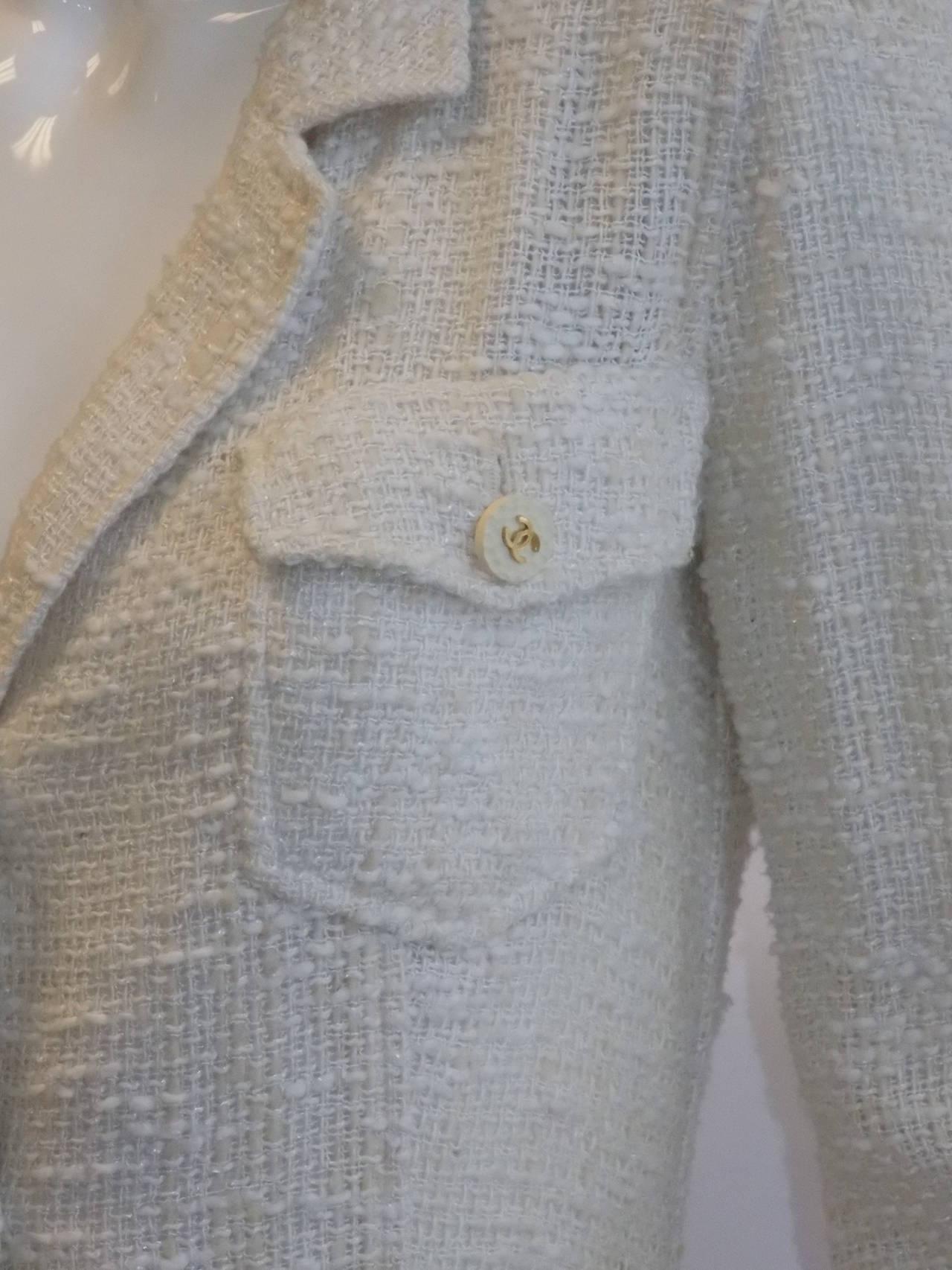 Chanel catwalk vintage winter white  coat dress duster 3