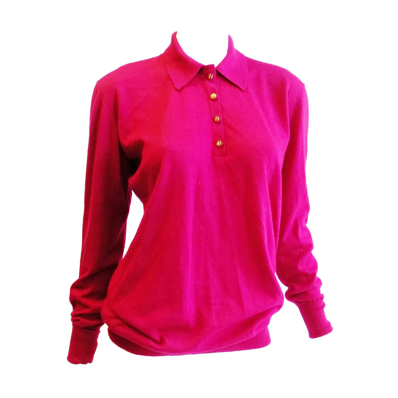 Chanel Vintage  cerise pink  cashmere button front  sweater top 1