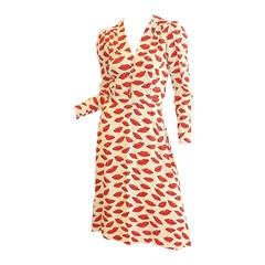 RARE Yves Saint Laurent 'Lips' print dress, circa 1971, Rive Gauche