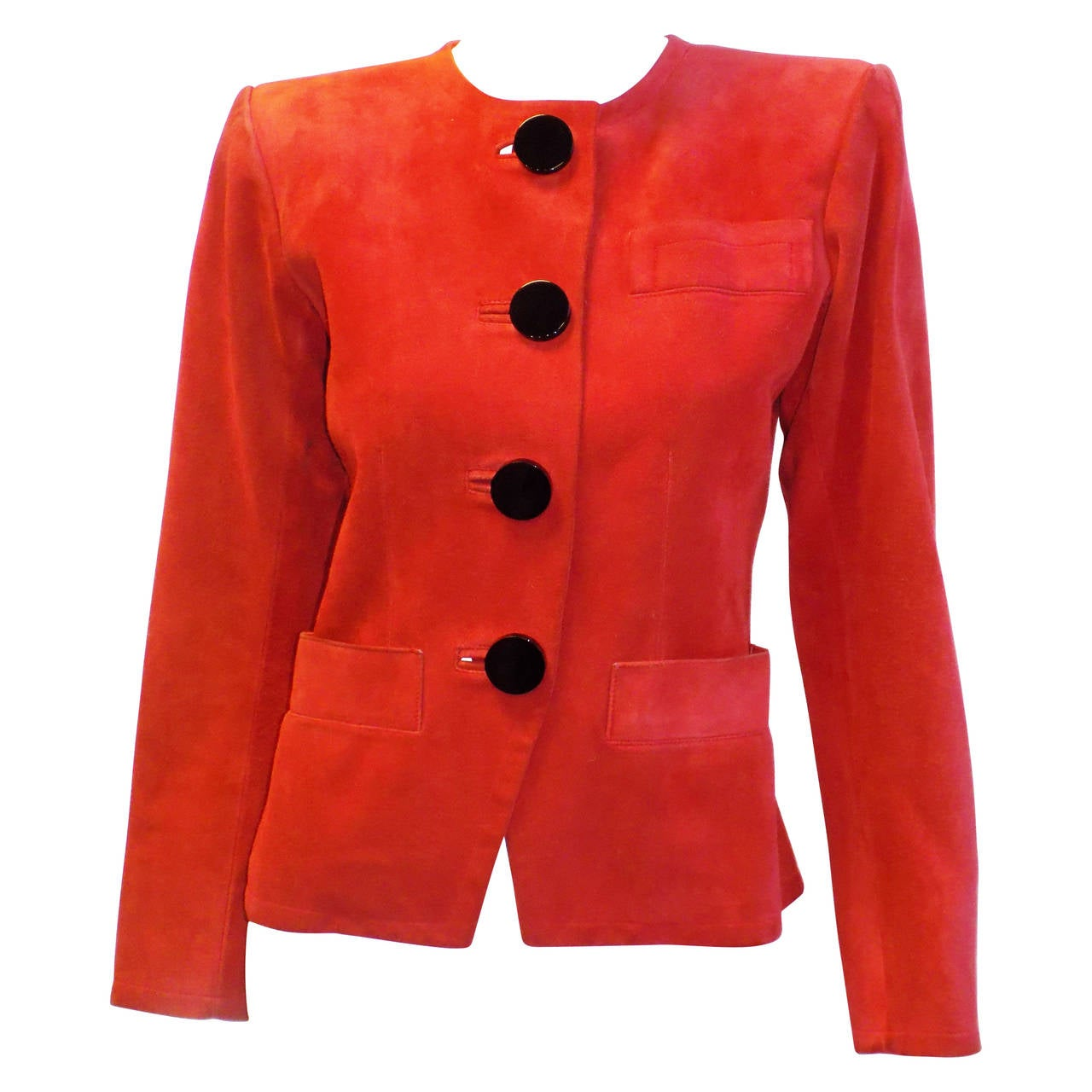 Yves saint laurent haute couture spectacular red suede for Haute couture jacket