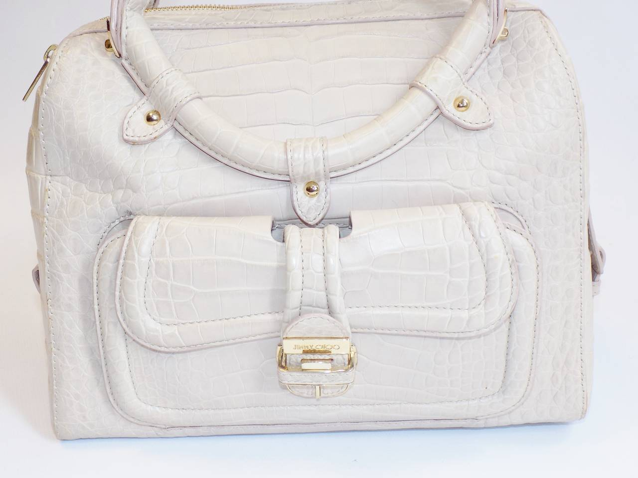 Jimmy Choo Ultimate Alligator Blush color top handle bag -purse  6