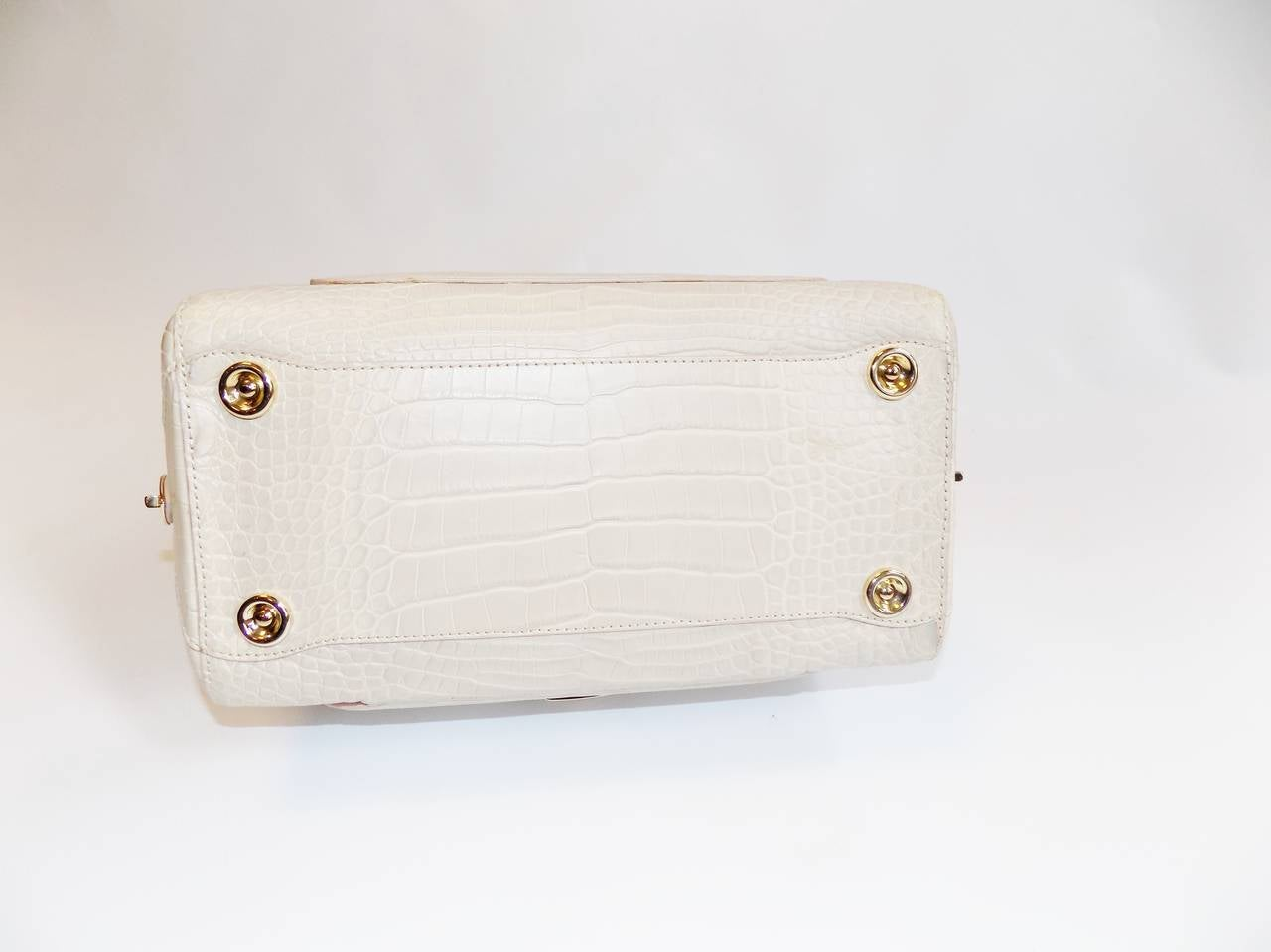 Jimmy Choo Ultimate Alligator Blush color top handle bag -purse  2