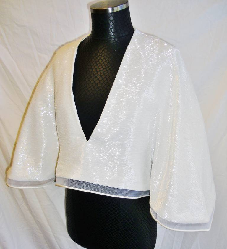 "One of kind! Chado Ralph Rucci White Hand Beaded evening kimono top. Horse hair trim. 18 inch from the neck deep V neckline. Length 21"" at the front and 23 at the back.  All silk lined. Midriff is 32"" wide."