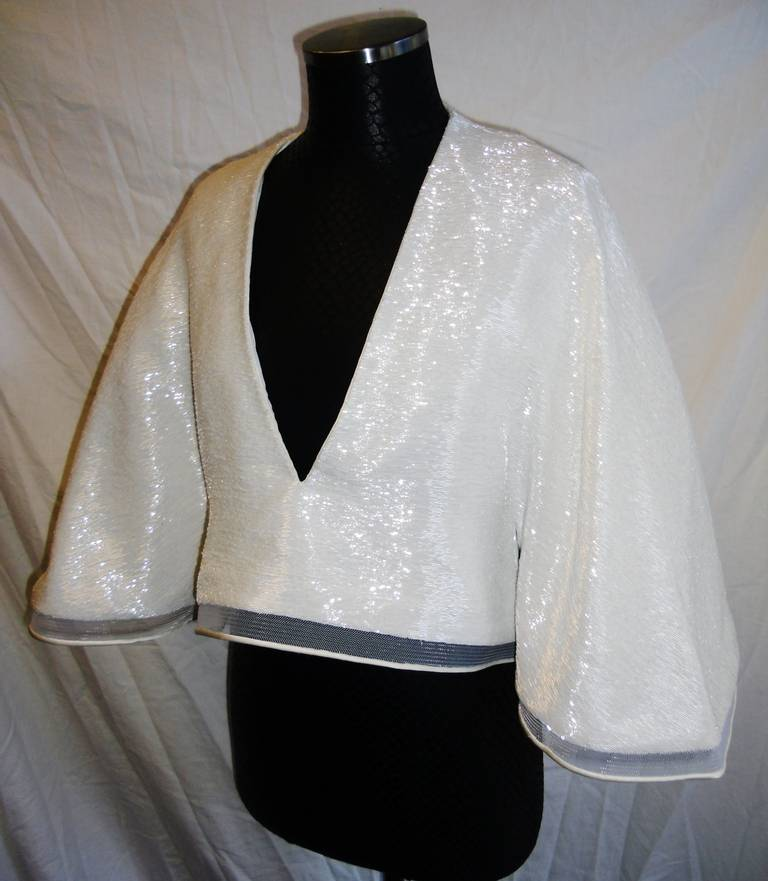 Chado Ralph Rucci White Beaded evening kimono top 3