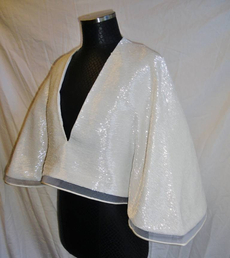 Chado Ralph Rucci White Beaded evening kimono top In New never worn Condition For Sale In New York, NY
