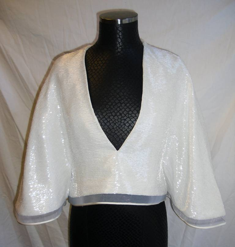 Chado Ralph Rucci White Beaded evening kimono top 6