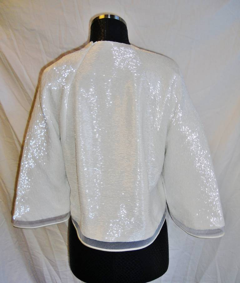 Chado Ralph Rucci White Beaded evening kimono top 8