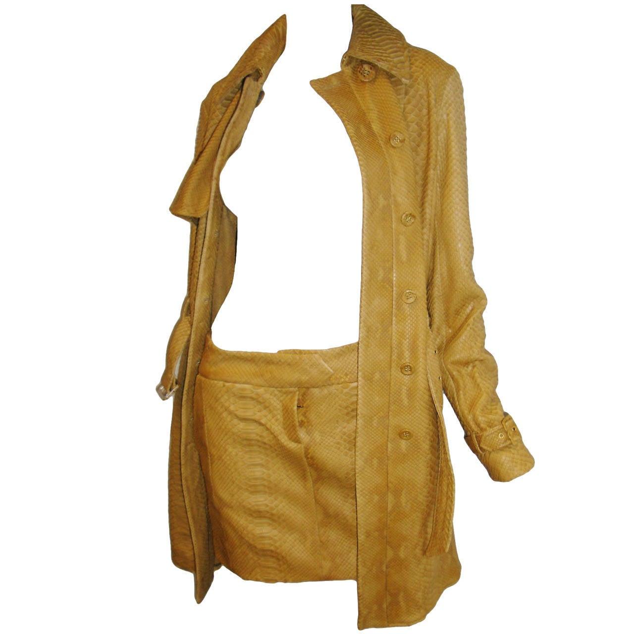 Borbonese Python Trench Coat Jacket and skirt ensemble