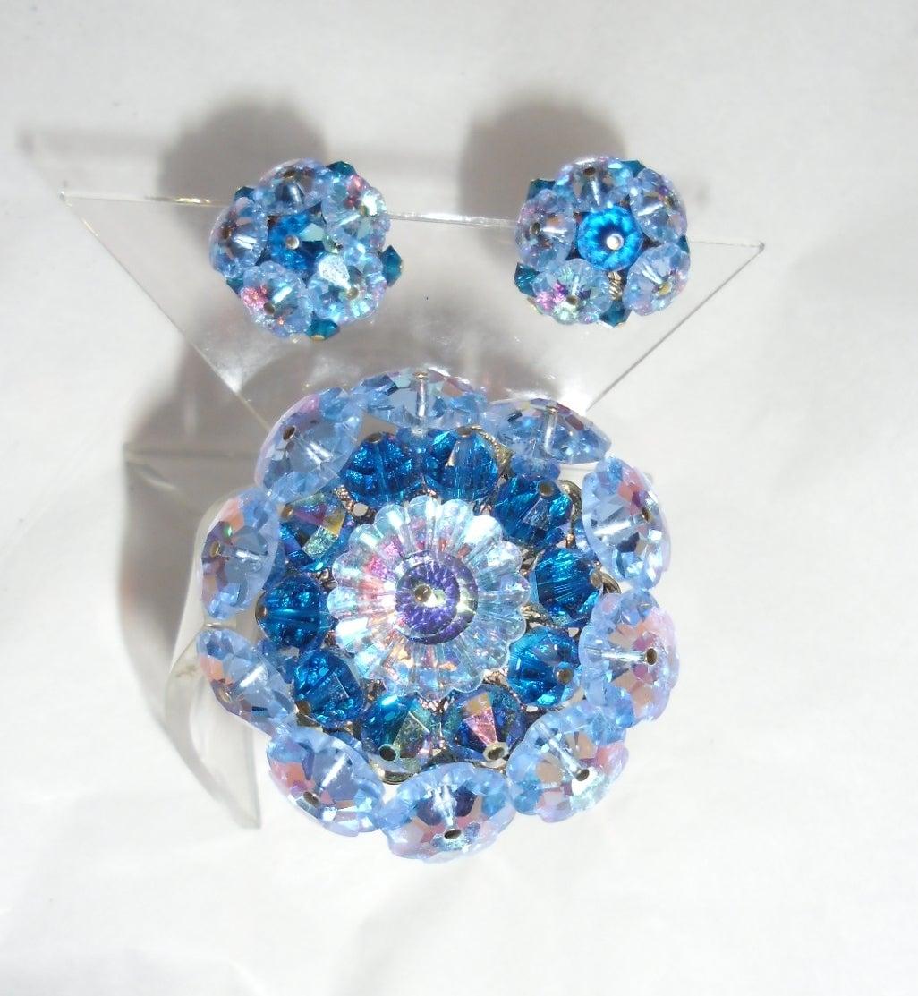 Vandome Vintage  Ocean blue crystal mobile parts pin and earrings set 3