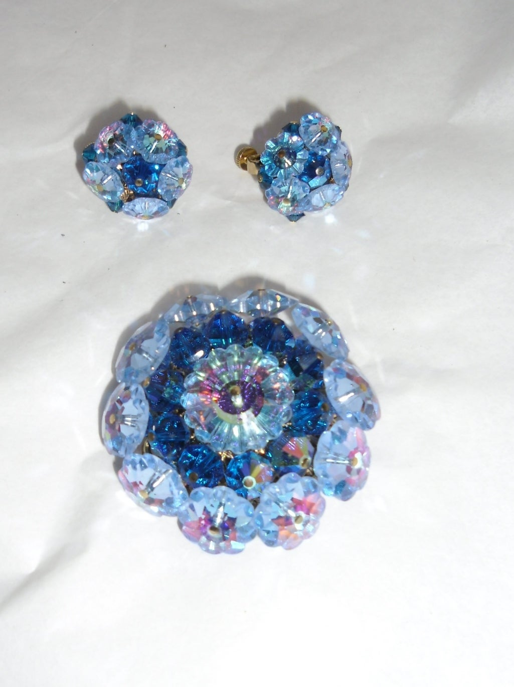 Vandome Vintage  Ocean blue crystal mobile parts pin and earrings set 2
