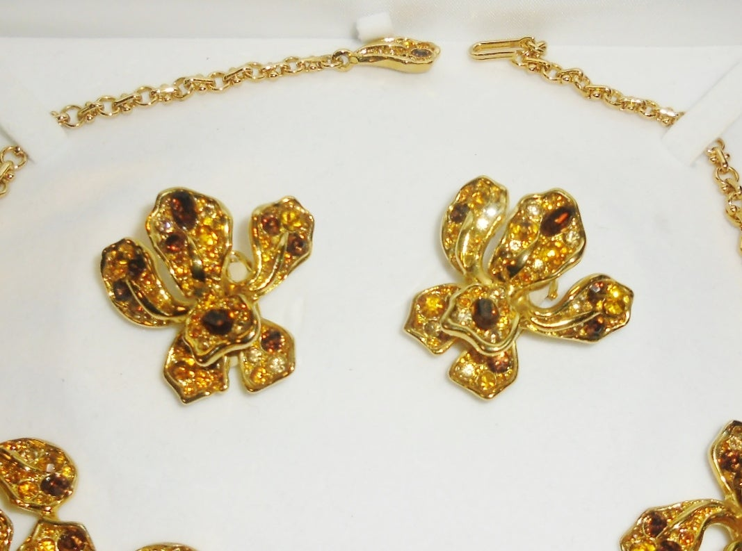 kenneth jay lane vintage orchid necklace and earrings for On kenneth lane vintage jewelry