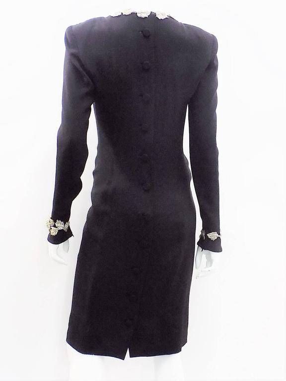 Chanel Vintage Haute Couture Black Cocktail dress w silver Lesage Cammelia  trim For Sale 3