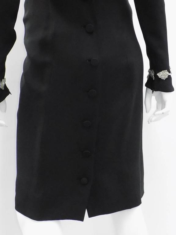 Chanel Vintage Haute Couture Black Cocktail dress w silver Lesage Cammelia  trim For Sale 4