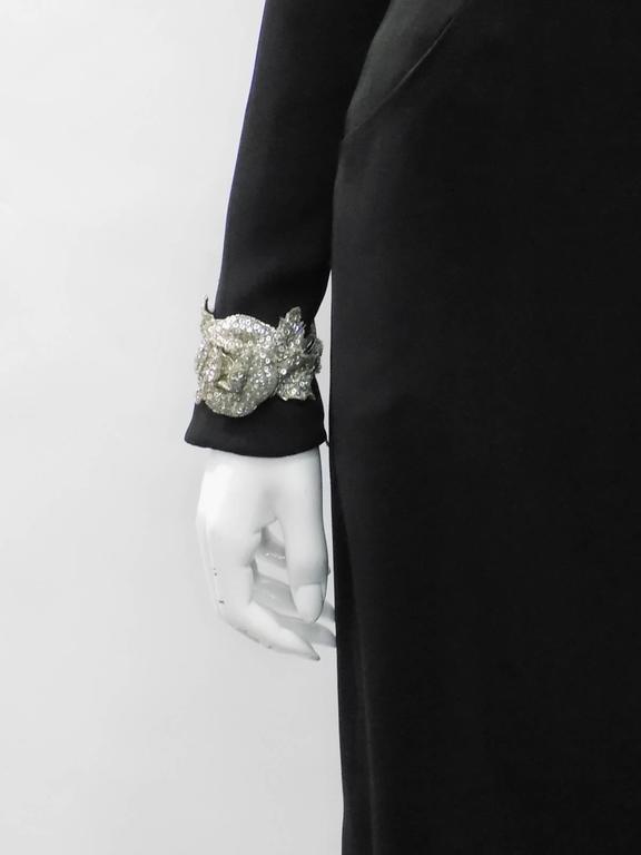 Women's Chanel Vintage Haute Couture Black Cocktail dress w silver Lesage Cammelia  trim For Sale