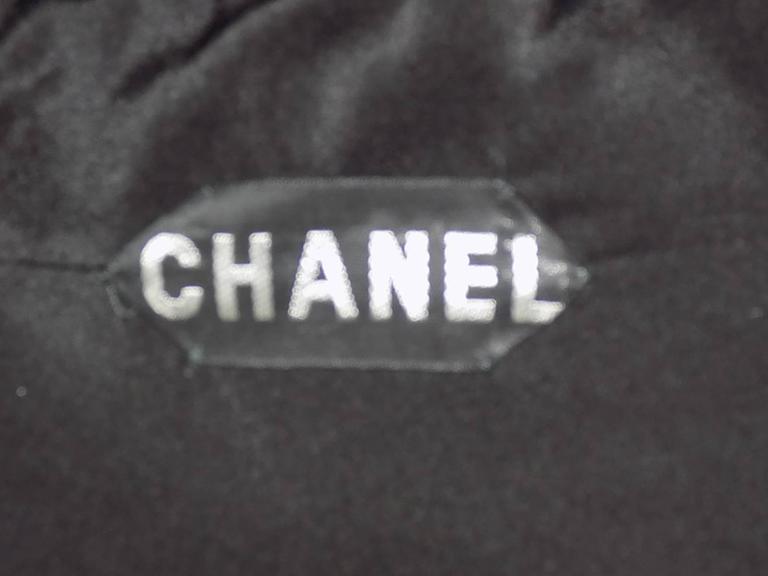 Chanel Vintage Haute Couture Black Cocktail dress w silver Lesage Cammelia  trim For Sale 5