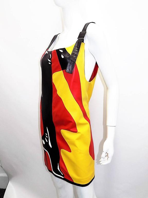 "Bottega veneta pop art "" KINKY BOOTS"" mini  leather dress  3"